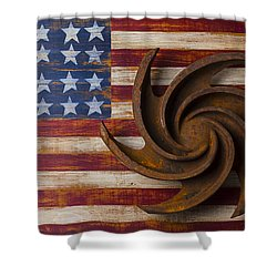 Farming Tool On American Flag Shower Curtain by Garry Gay