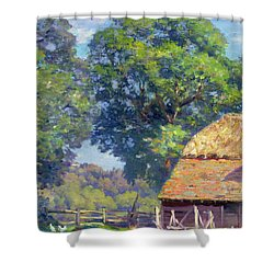 Farmyard With Poultry Shower Curtain by Gabriel Edouard Thurner