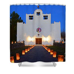Farolitos Saint Francis De Paula Mission Shower Curtain by Bob Christopher