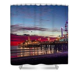 Ferris Wheel On The Santa Monica California Pier At Sunset Fine Art Photography Print Shower Curtain by Jerry Cowart