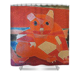 Fat Cat On A Hot Chaise Lounge Shower Curtain by Richard W Linford