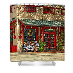 Fat Hen Grocery Painted Shower Curtain by Steve Harrington