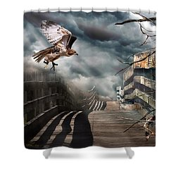 Fateful Crossing Shower Curtain by Christina Rollo