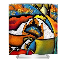Father And Mother Shower Curtain by Leon Zernitsky