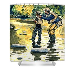 Father And Son Shower Curtain by John D Benson