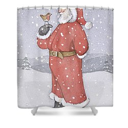 Father Christmas And A Robin Shower Curtain by Lavinia Hamer