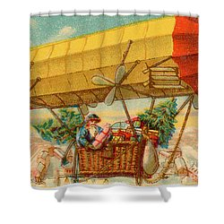 Father Christmas In Airship Shower Curtain by Mary Evans