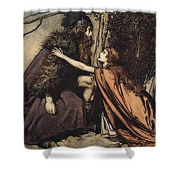Father Father Tell Me What Ails Thee With Dismay Thou Art Filling Thy Child Shower Curtain by Arthur Rackham