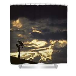 Father Holding Daughter Above His Head Along Hillside Silhouette Shower Curtain