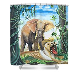 Faune D'afrique Centrale 01 Shower Curtain by Emmanuel Baliyanga