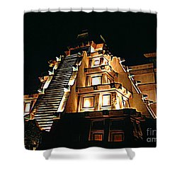 Faux Myan Pyramid Shower Curtain by John Malone