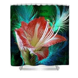 Feathered Amaryllis Shower Curtain