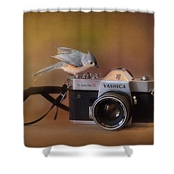 Feathered Photographer Shower Curtain by Jai Johnson