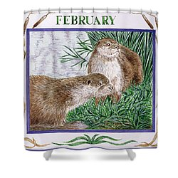 February Wc On Paper Shower Curtain by Catherine Bradbury