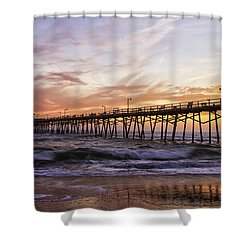 Shower Curtain featuring the photograph Febuary Sunset On Atlantic Beach by Bob Decker