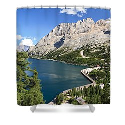 Shower Curtain featuring the photograph Fedaia Pass With Lake by Antonio Scarpi