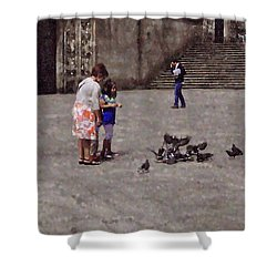 Feeding Pigeons In Santiago De Compostela Shower Curtain by Mary Machare