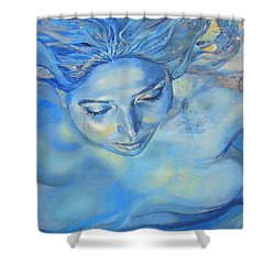 Feeling Blue Shower Curtain by Ramona Johnston