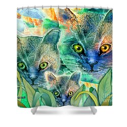 Shower Curtain featuring the painting Feline Family by Teresa Ascone