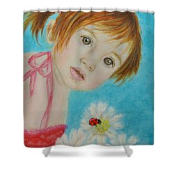 Felisa Little Angel Of Happiness And Luck Shower Curtain by The Art With A Heart By Charlotte Phillips