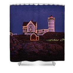 Felize Navidad Nubble Shower Curtain by Skip Willits