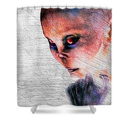 Female Alien Portrait Shower Curtain by Bob Orsillo