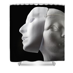 Female Mannequin And Mask Shower Curtain by Kelly Redinger