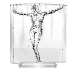 Female Nude In The Pose As Jesus Christ Crucifix  - Pencil Drawing Shower Curtain by Nenad Cerovic
