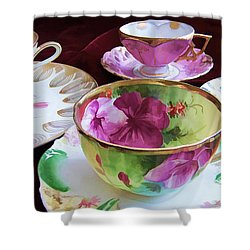 Feminine High Society Ladies Tea Party Shower Curtain