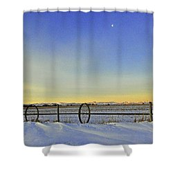 Fence And Moon Shower Curtain by Desiree Paquette