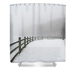 Fence In Fog Shower Curtain