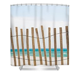 Fence On The Beach Shower Curtain by Shelby  Young