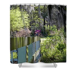 Fence Points The Way Shower Curtain by Patricia Greer
