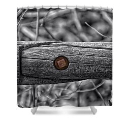 Fence Rail With Rusty Bolt Shower Curtain by Thomas Woolworth