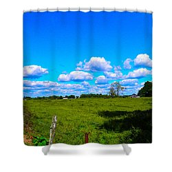 Fence Row And Clouds Shower Curtain by Nick Kirby
