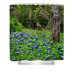 Fenced In Bluebonnets Shower Curtain by David and Carol Kelly
