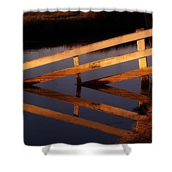 Fenced Reflection Shower Curtain by Bill Gallagher