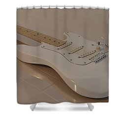 Fender Stratocaster In White Shower Curtain by James Barnes
