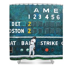 Fenway Park - Green Monster Shower Curtain by Mike Rabe