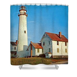 Fenwick Island Lighthouse 1950 Shower Curtain by Skip Willits