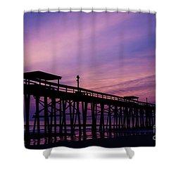 Fernandina Fishing Pier At Sunrise Shower Curtain by Dawna  Moore Photography