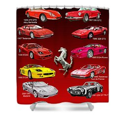 Ferrari Poster Art Shower Curtain by Jack Pumphrey