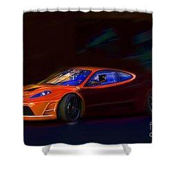 Shower Curtain featuring the photograph Ferrari Shadow by Gunter Nezhoda