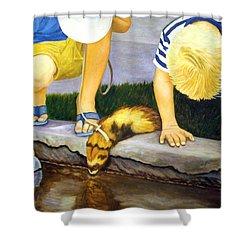 Shower Curtain featuring the painting Ferret And Friends by Karen Zuk Rosenblatt