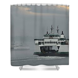 Ferries Pass In The Fog Shower Curtain