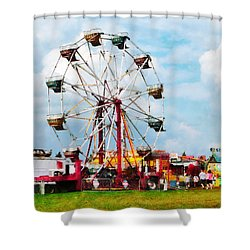 Ferris Wheel Against Blue Sky Shower Curtain by Susan Savad