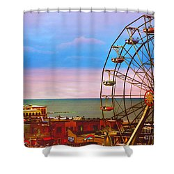 Ocean City New Jersey Ferris Wheel And Music Pier Shower Curtain