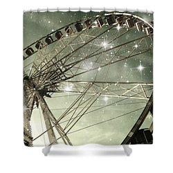 Ferris Wheel At Night In Paris Shower Curtain by Marianna Mills