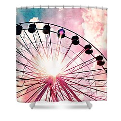 Ferris Wheel In Pink And Blue Shower Curtain