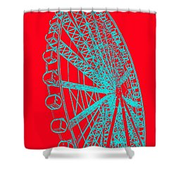 Ferris Wheel Silhouette Turquoise Red Shower Curtain